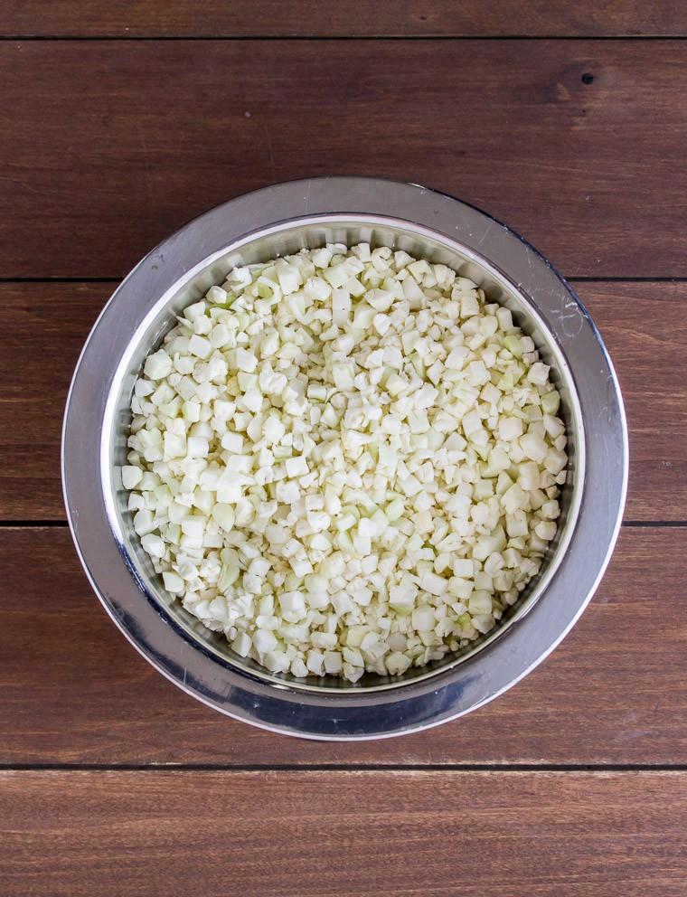 Chopped Cauliflower in a Silver Bowl