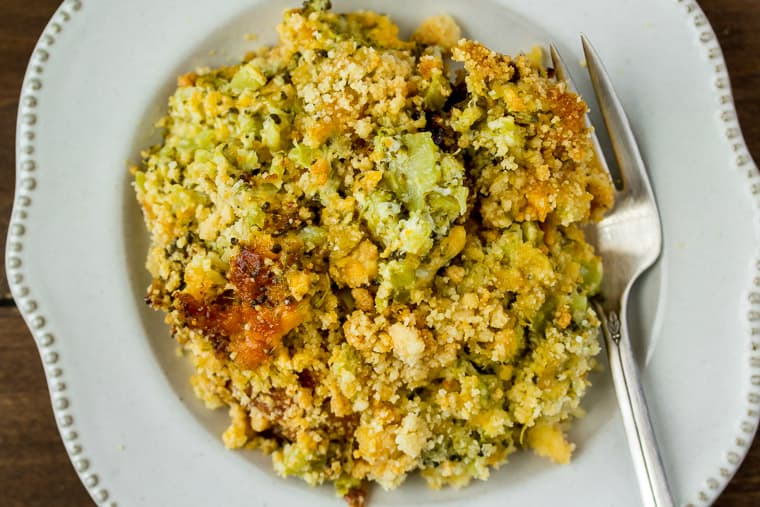 Keto Broccoli Casserole on a White Plate with a Fork