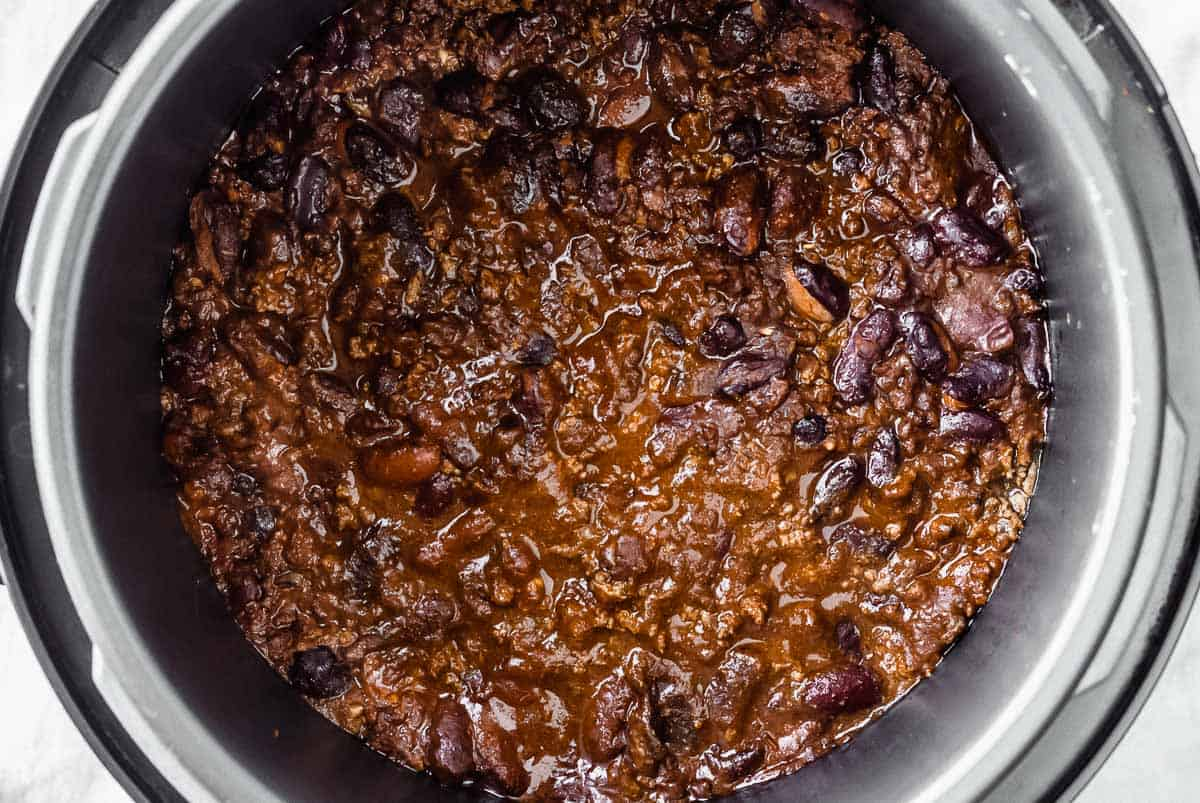 Beef chili cooked in an instant pot