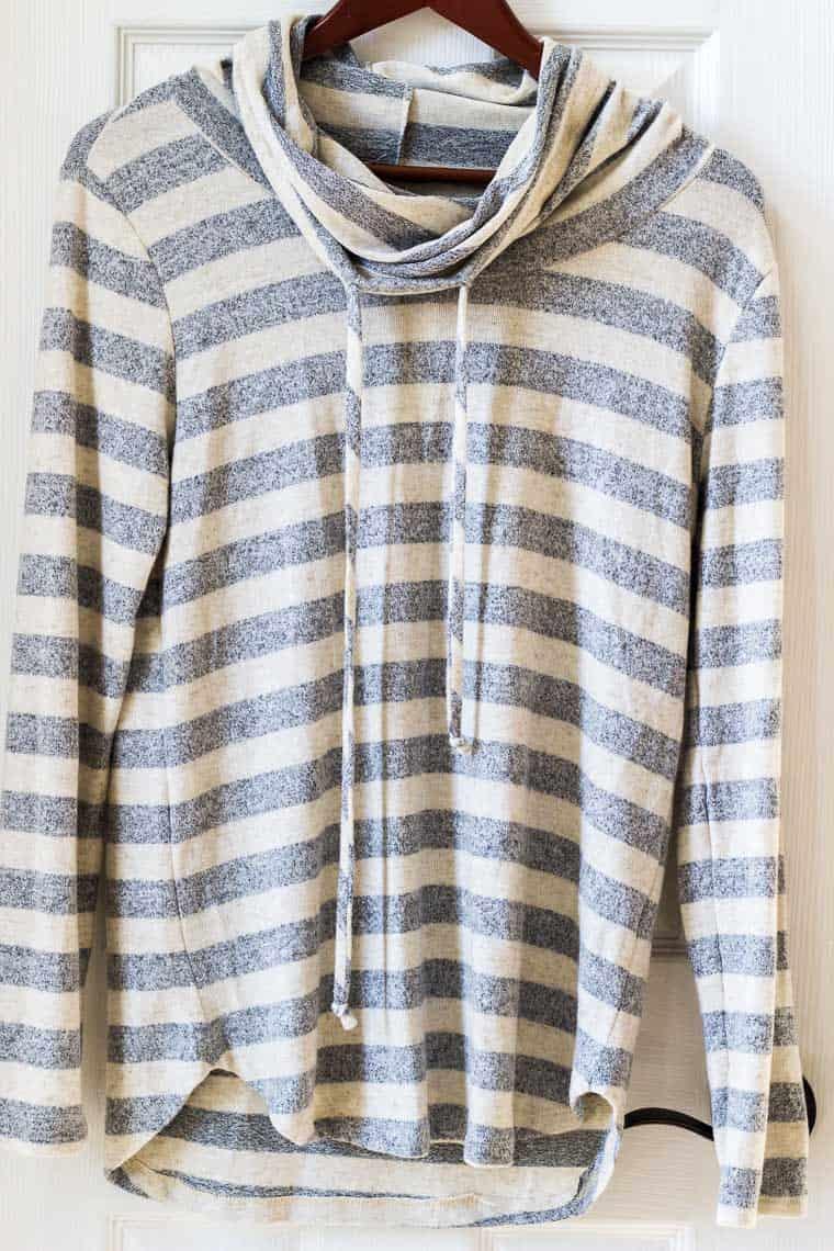 Stitch Fix Pink Clover Poplar Cowl Neck Knit Top on a hanger on a white background | #ad #stitchfix #stitchfix2019 #stitchfixwinter
