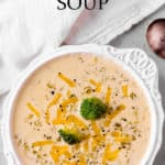 a bowl of keto broccoli cheese soup with text overlay
