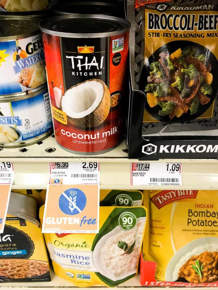 Thai Kitchen Coconut Milk on the Shelf in Store