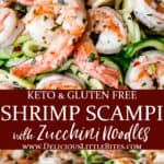 2 images of keto shrimp scampi with text overlay between them