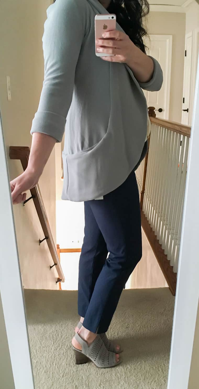 Wearing the light gray French Mauve Melanie Knit Tunic Blazer with dark blue pants and Vince Camuto Sandals