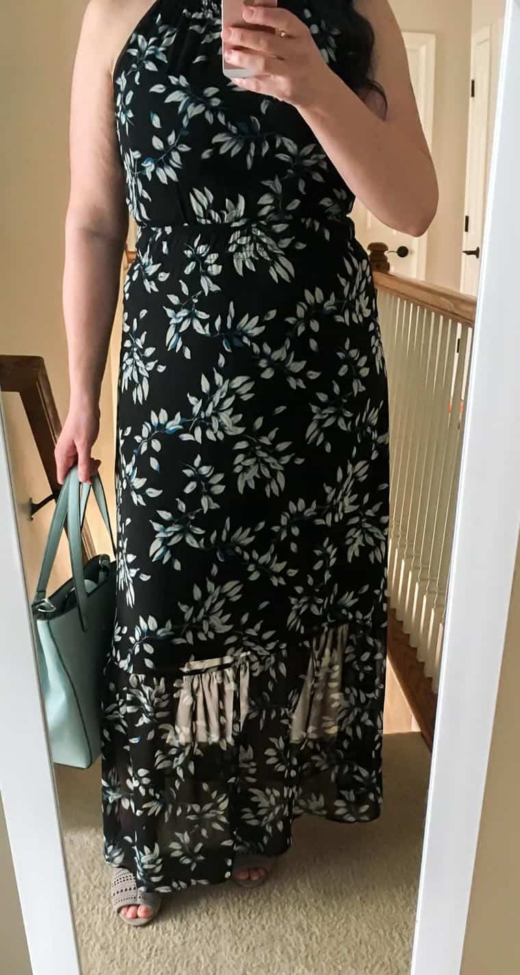 Wearing the Black with blue floral print Collective Concepts Signa Maxi Dress from Stitch Fix