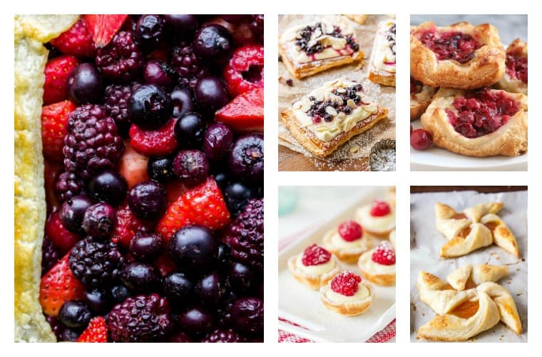 A collage of 5 different puff pastry tarts recipes