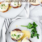 Keto eggs benedict with text overlay