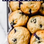 Blueberry Oat Muffins are delicious, moist, to-die-for muffins that you and your family will love. They are made with oats, vanilla Greek yogurt and half-and-half to give them incredible flavor and tenderness. This recipe is lower in sugar and easy enough to make that you can enjoy blueberry muffins anytime you wish. | #blueberries #blueberrymuffins #oatmuffins #proteinmuffins #breakfast #baking #muffins