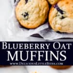 2 images of blueberry oat muffins with text overlay between them