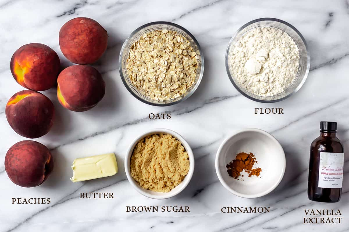 Ingredients needed to make peach crisp with text overlay