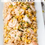 shrimp and quinoa salad with text overlay
