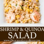 2 images of shrimp and quinoa salad with text overlay between them