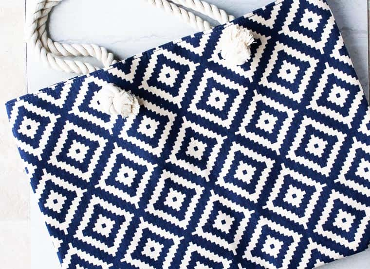 Close up of the blue and white diamond tote from Summer and Rose
