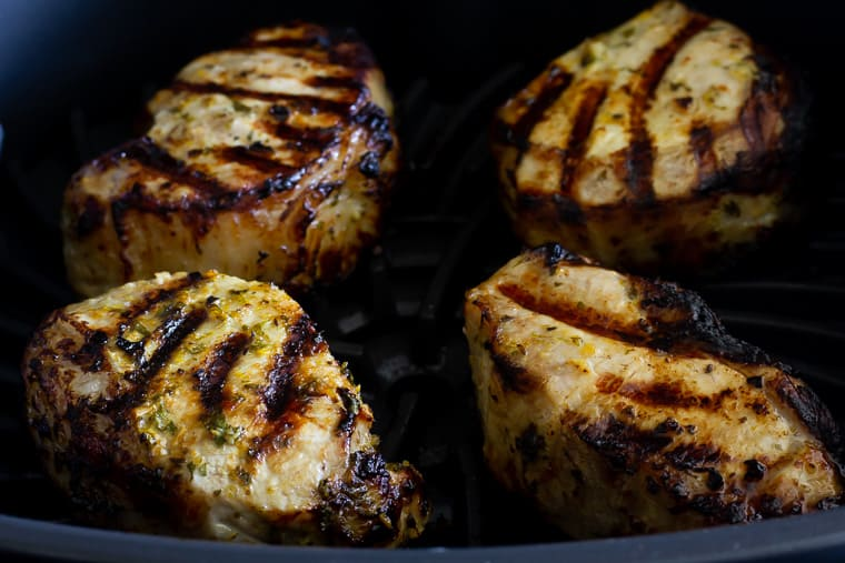 Grilled Cuban Pork Chops in the Ninja Foodi Grill up close