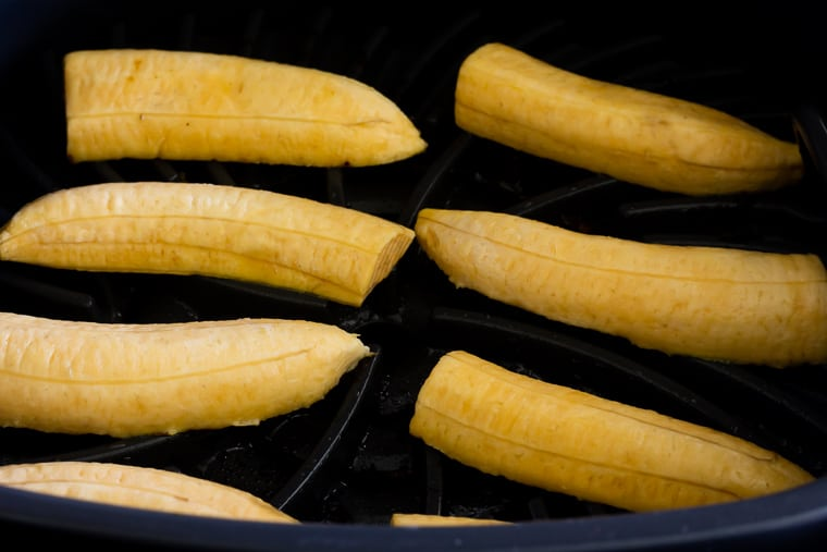 Long slices of plantains in the Ninja Foodi Grill up close