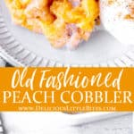 2 images peach cobbler with text overlay between them