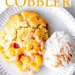 peach cobbler with text overlay