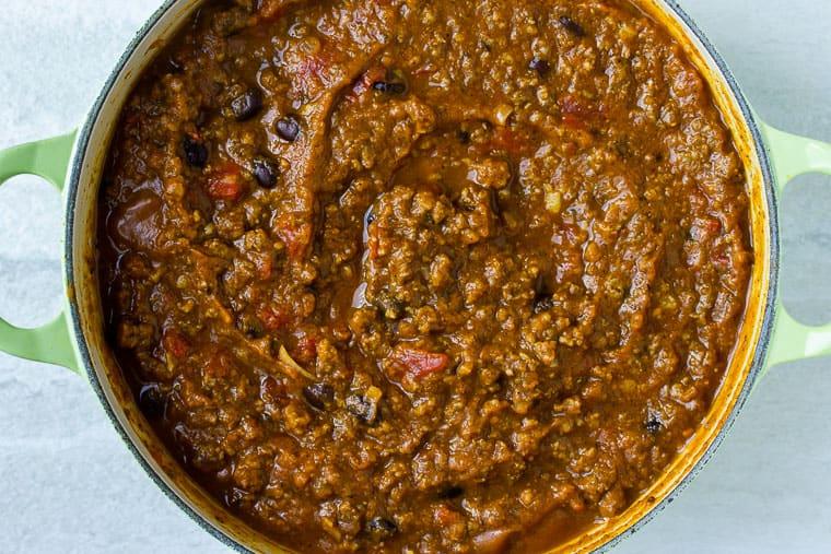 pumpkin chili in a Dutch oven