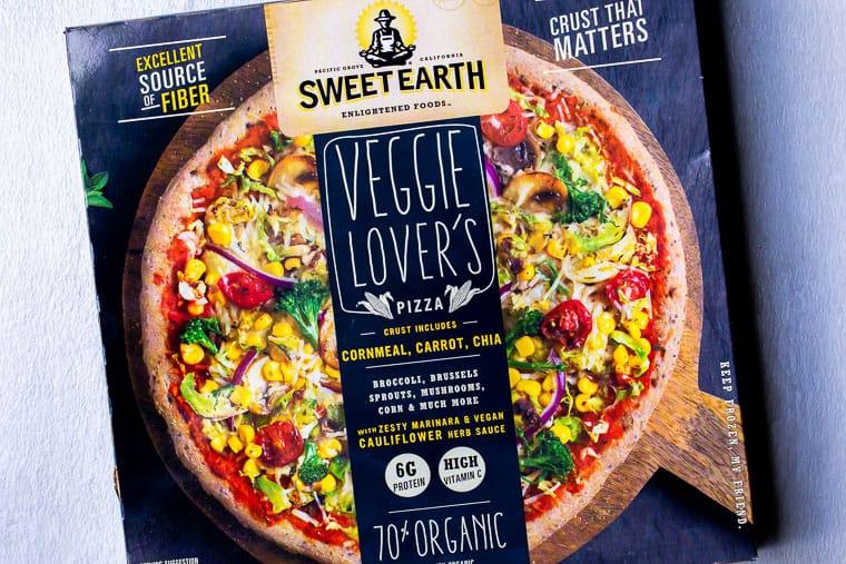 Sweet Earth's Veggie Lover's Pizza in it's box