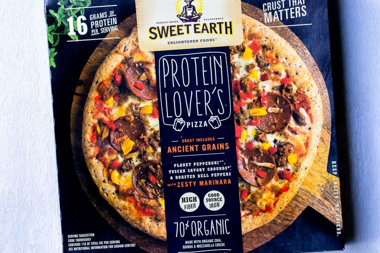 Sweet Earth Protein Lover's Pizza in it's box