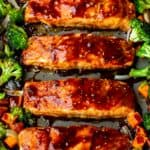 Sheet Pan Teriyaki Salmon with Veggies on a gray sheet pan