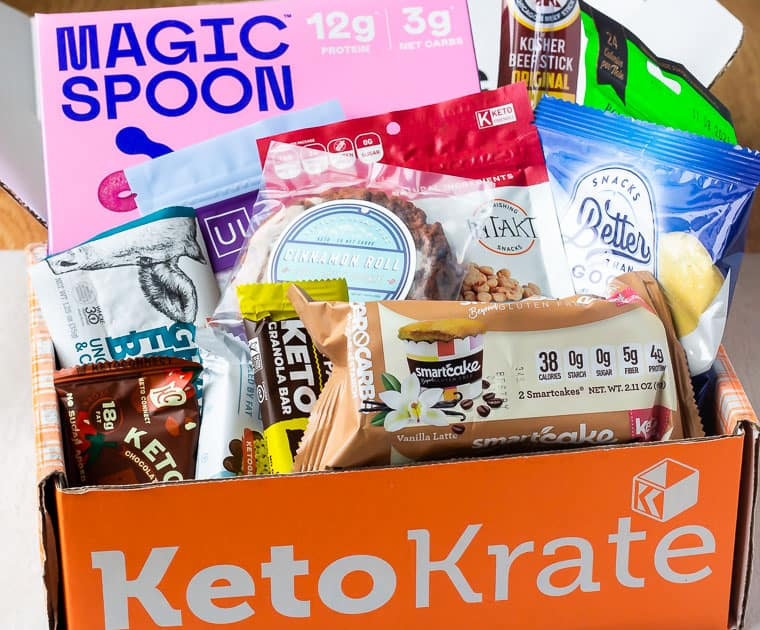 February Keto Krate subscription box with all the items for the review in it