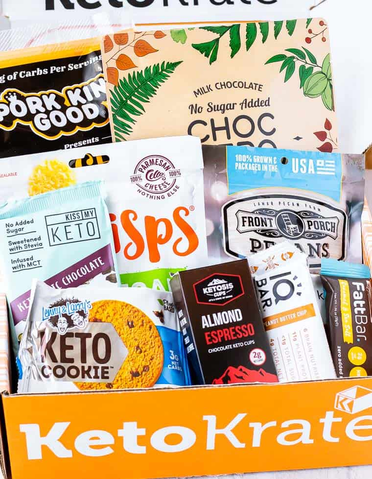 March 2020 Keto Krate review box with all of the items in it