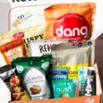 April 2020 Keto Krate box with all of the items arranged inside it
