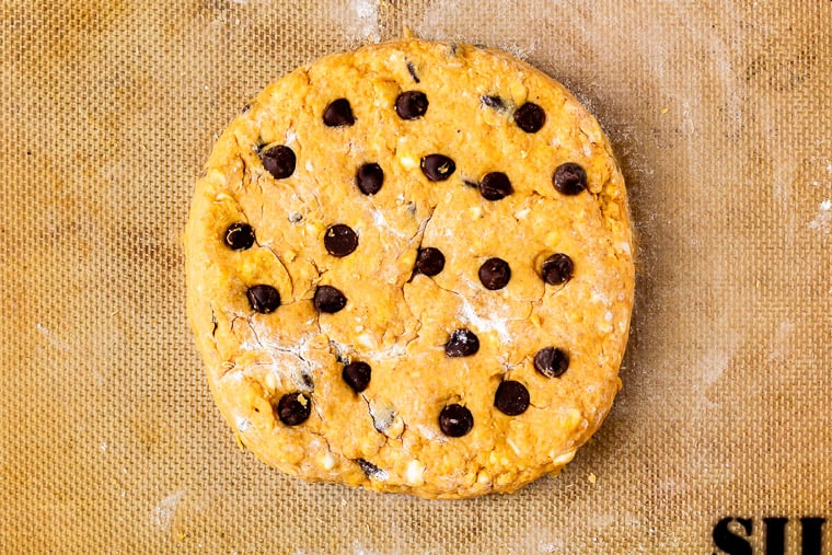 Pumpkin chocolate chip scones dough formed into a circle on a floured silpat mat