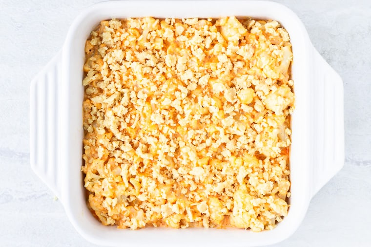 cauliflower mac and cheese topped with almond flour crumbs