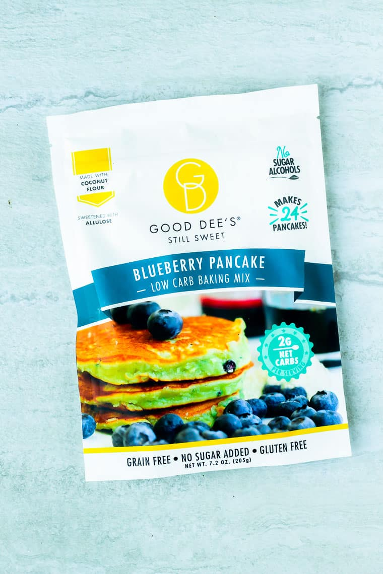 Good Dee's Blueberry Pancake Mix on a white background
