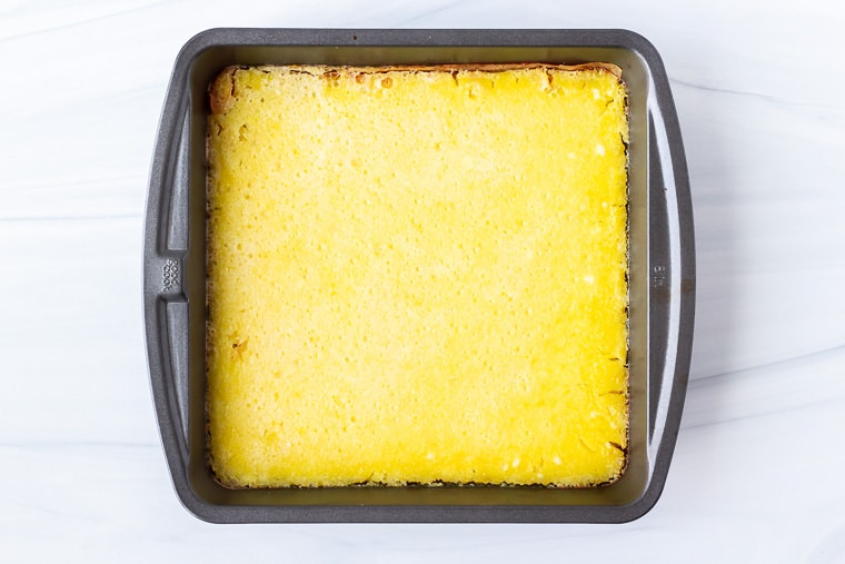 Baked keto lemon bars in a square baking pan