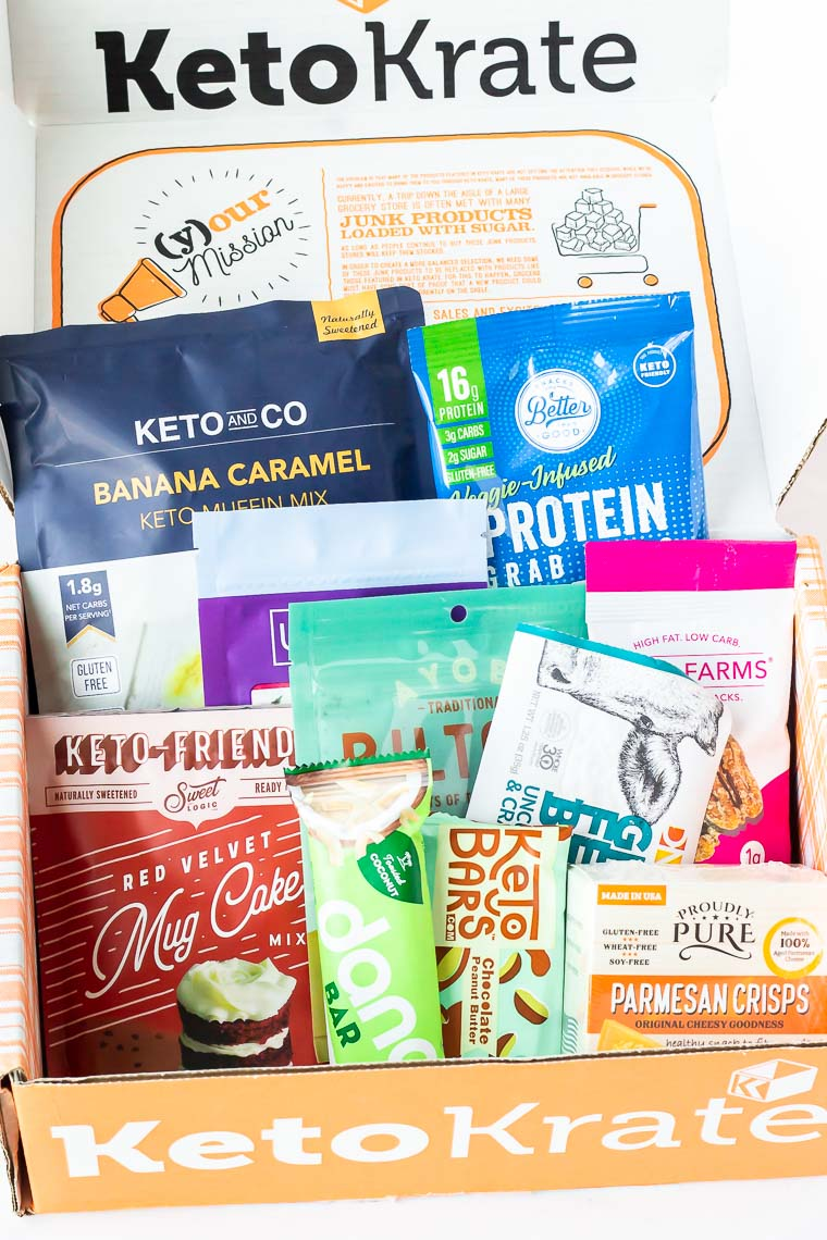 All the products in the July 2020 Keto Krate displayed inside the opened box