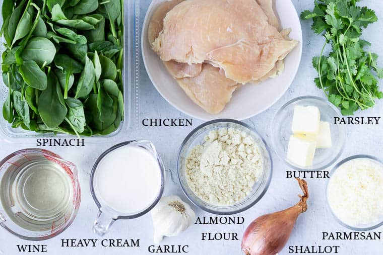 Keto Chicken Florentine ingredients on a white background with labels