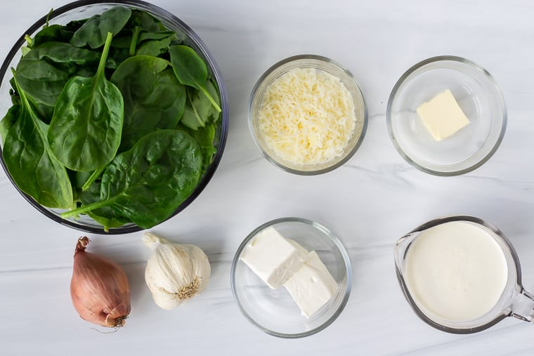 Keto Creamed Spinach ingredients on a white background