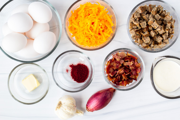 Ingredients for a keto frittata on a white background
