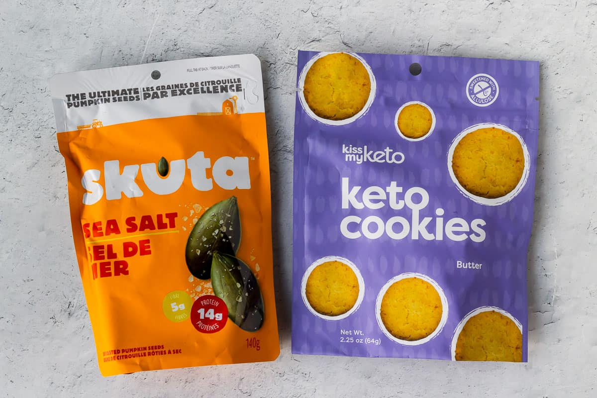 Keto cookies and pumpkin seeds on a white background