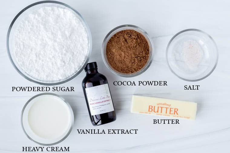 Ingredients to make chocolate buttercream frosting on a white background with labels