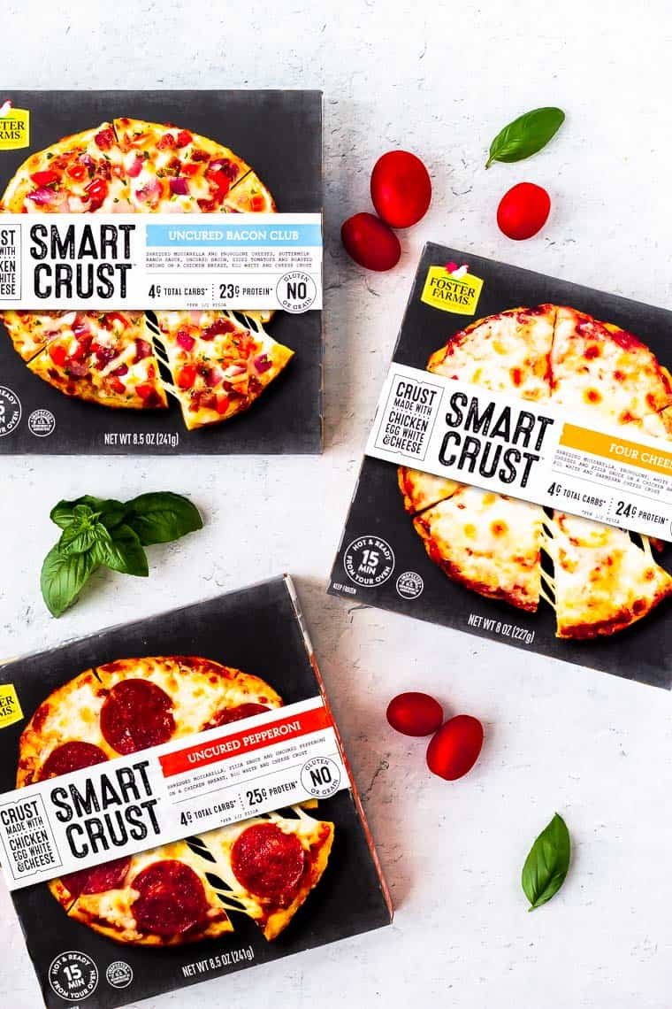 Foster Farms Smart Crust Pizza boxes in all three varieties on a white background
