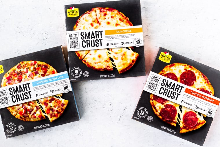 3 Foster Farms Smart Crust Pizza boxes on a white background