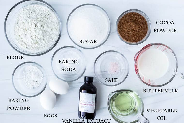 Chocolate Cupcake ingredients labeled on a white backdrop