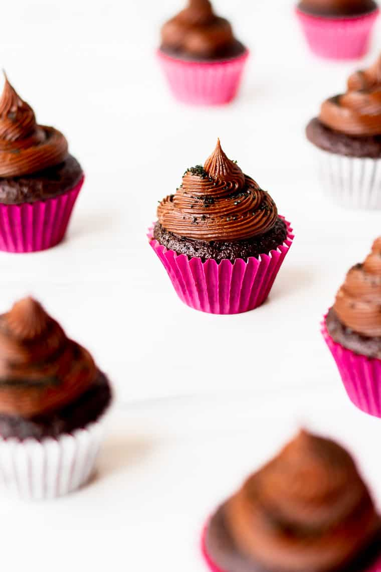 Mini Chocolate Cupcakes spread out onto a white background