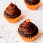 2 Mini Chocolate Halloween cupcakes on a white background