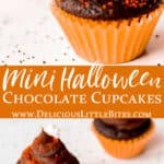 2 images of Mini Chocolate halloween cupcakes on a white background with text overlay between them
