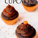 Mini Chocolate halloween cupcakes on a white background with text overlay
