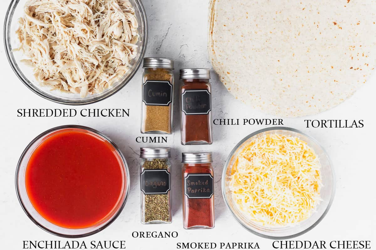 Ingredients to make chicken enchiladas on a white background with labels