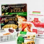 A variety of plant based frozen meals and foods
