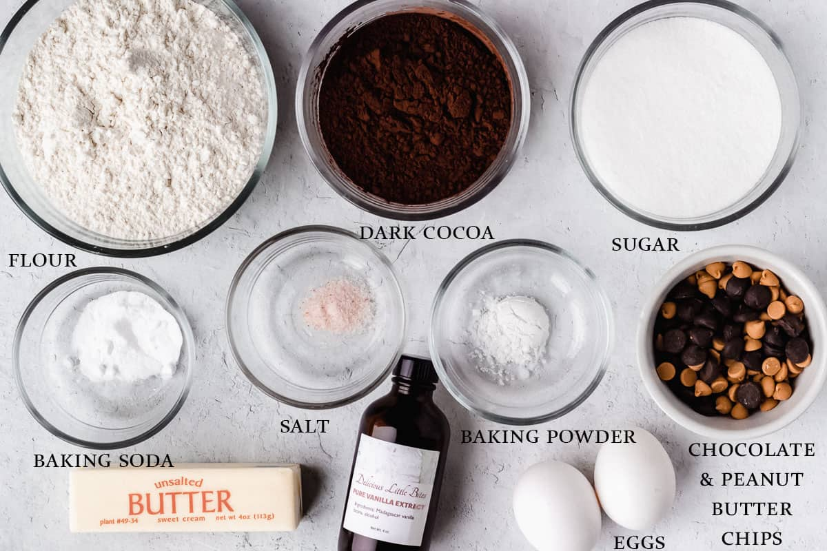 Ingredients to make dark chocolate chip peanut butter cookies on a white background with labels