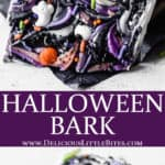 2 images of halloween bark with text overlay between them