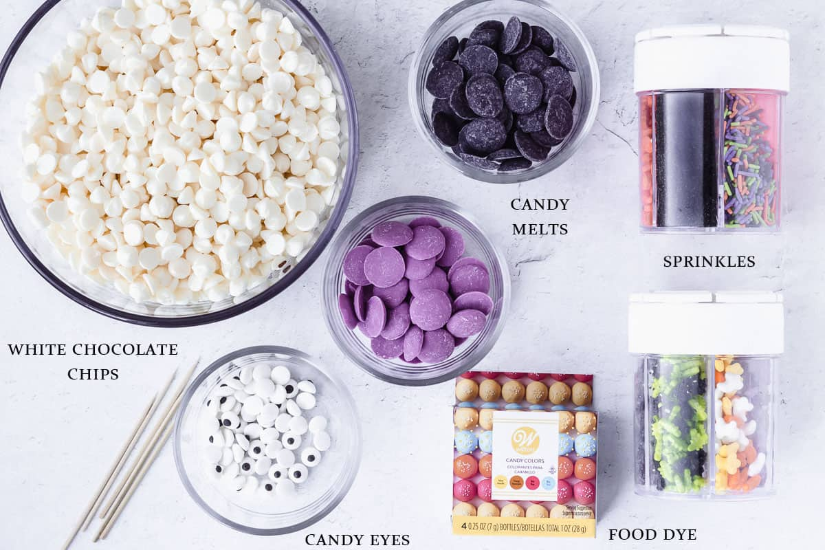 Candy bark ingredients labeled on a white backdrop